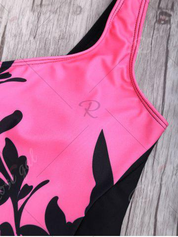 Latest Floral One Shoulder Two Tone Swimwear - S BLACK AND PINK Mobile