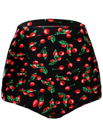 Best High Waisted Retro Swim Bottom - L BLACK AND RED Mobile