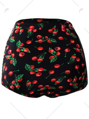 Latest High Waisted Retro Swim Bottom - M BLACK AND RED Mobile