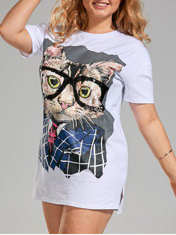 Sequin Funny Cat Plus Size T-shirt Dress - White - 3xl