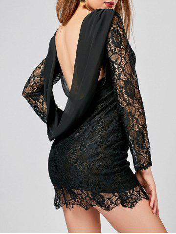Trendy Long Sleeve Chiffon Panel Backless Lace Dress - S BLACK Mobile