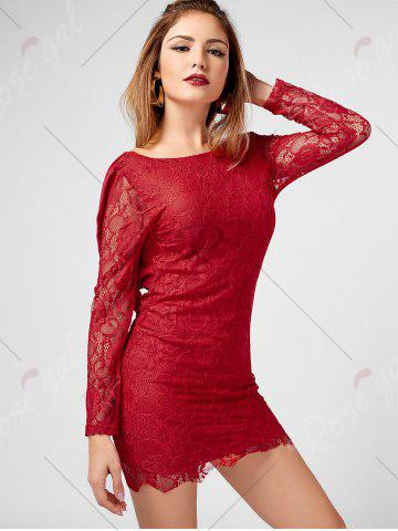 Discount Long Sleeve Chiffon Panel Backless Lace Dress - L RED Mobile