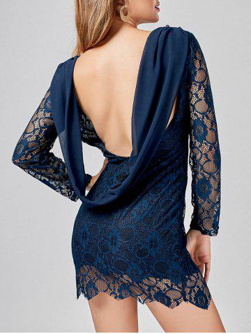 Fashion Long Sleeve Chiffon Panel Backless Lace Dress DEEP BLUE XL