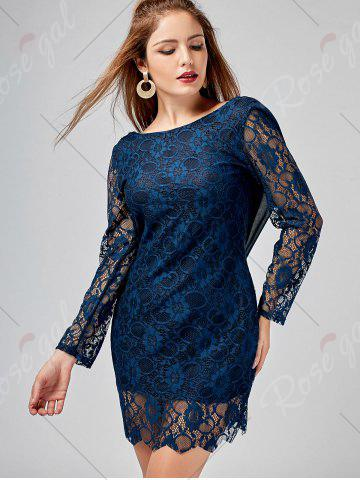 Outfits Long Sleeve Chiffon Panel Backless Lace Dress - L DEEP BLUE Mobile