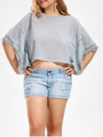 Plus Size Bat-sleeve T-shirt with Tassel Panel - Blue Gray - One Size