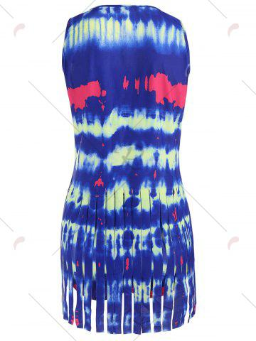 Outfit Tie Dye Fringed Tankini Set - XL DEEP BLUE Mobile