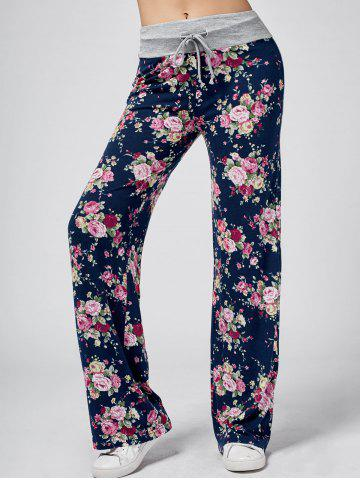 Floral Wide Leg Sweatpants - Floral White - 2xl