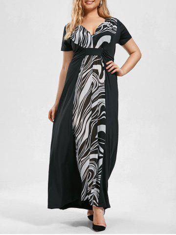 Short Sleeve Empire Waist Plus Size Maxi Dress - Black - 4xl