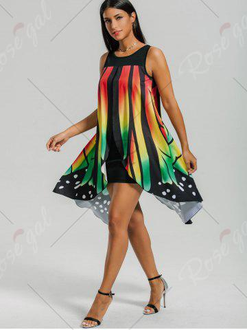 Affordable Front Slit Butterfly Shape Flowy Sleeveless Dress - L COLORMIX Mobile