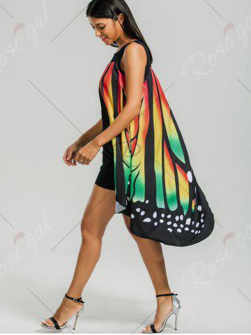New Front Slit Butterfly Shape Flowy Sleeveless Dress - L COLORMIX Mobile