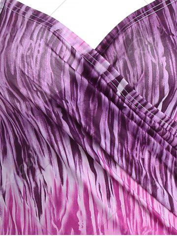 Latest Printed Wrap Cover Up Dress - ONE SIZE PURPLE Mobile