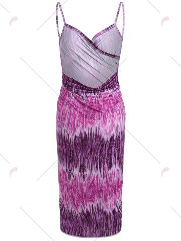 Unique Printed Wrap Cover Up Dress - ONE SIZE PURPLE Mobile