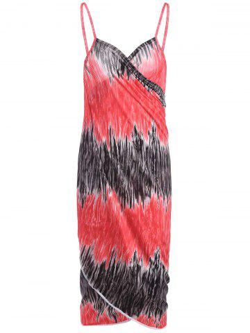 Sale Printed Wrap Cover Up Dress - ONE SIZE RED Mobile