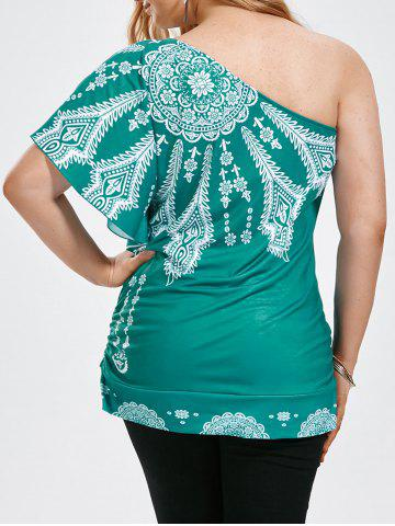 One Shoulder Floral Butterfly Sleeve Plus Size Top - Green - 5xl