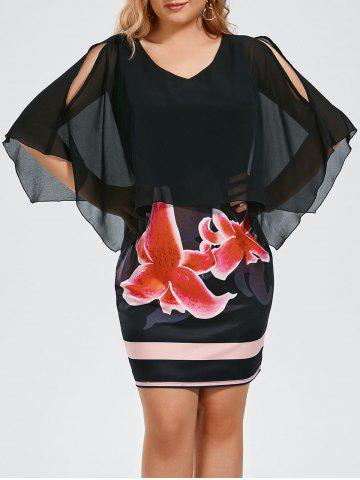 Floral Print Plus Size Slit Sleeve Capelet Dress - Black - 2xl