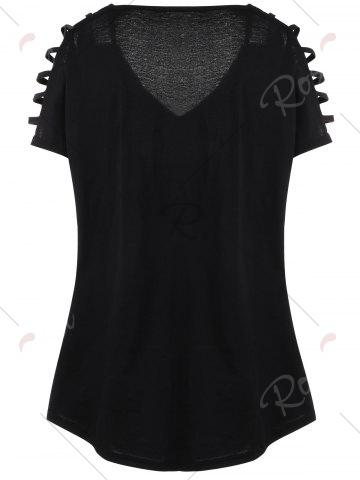 Chic Plus Size Cut Out Skull Print Tee - 5XL BLACK Mobile