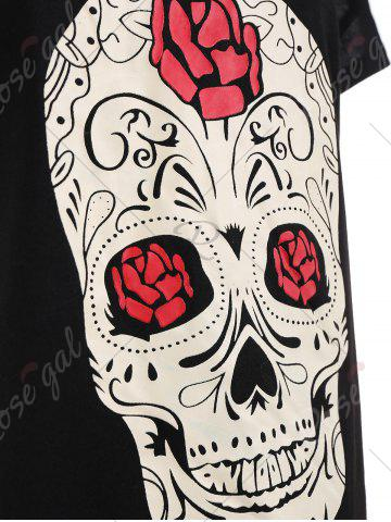 Buy Plus Size Cut Out Skull Print Tee - 5XL BLACK Mobile