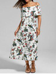 Floral Off The Shoulder Flounce Maxi Dress