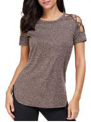 Heathered Crisscross Cold Shoulder T-shirt - COFFEE