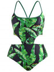 Palm Leaf Print Lace Up Swimwear