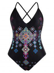 Cross Back Printed Plus Size Swimsuit