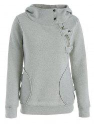 Long Sleeve Pockets Inclined Zipper Pullover Hoodie - GRAY