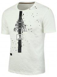 Splatter Painted Graphic T-shirt - WHITE 2XL