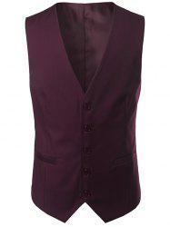 Single Breasted V Neck Belt Design Waistcoat