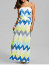 Strapless Zigzag Floor Length Dress