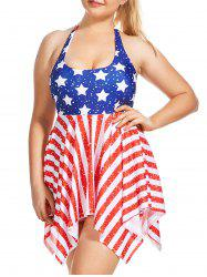 Patriotic American Flag Plus Size Skirted Tankini Set