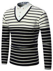 Long Sleeve Half Button Stripe Insert Tee