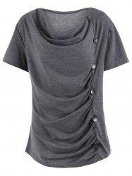 Plus Size Cowl Neck Button Embellished Tee