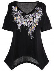 Plus Size Cold Shoulder Feather Print Top