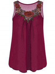 Embroidered Sleeveless Plus Size Chiffon Top - WINE RED