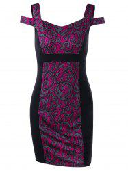 Tribal Print Cold Shoulder Mini Bodycon Dress - Rose