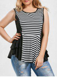 Plus Size Striped Peplum Top