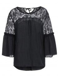 Lace Panel High Low Chiffon Top