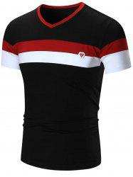 Metal Logo V Neck Striped Tee - BLACK 3XL