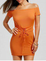 Off The Shoulder Bodycon Lace Up Dress