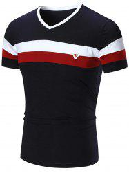Metal Logo V Neck Striped Tee