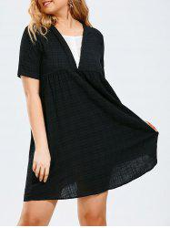 Half Button Plus Size Plaid Smock Dress