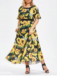 Plus Size Short Sleeve Floral Chiffon Maxi Dress