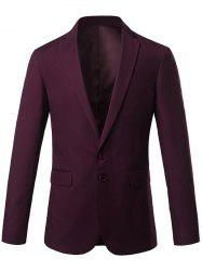 Slim Fit Lapel Single Breasted Casual Blazer - WINE RED