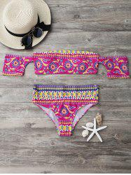 Off The Shoulder Printed Bikini Set