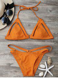 String Halter Caged Bikini Set