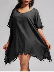 Oversized Batwing Sleeve Swing Tunic Cover Up Dress - BLACK ONE SIZE