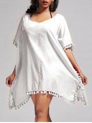 Oversized Batwing Sleeve Swing Tunic Cover Up Dress - WHITE