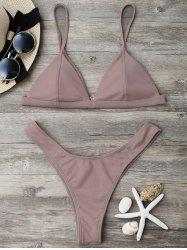 High Cut Thong Bikini Set - NUDE PINK