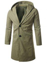 Single Breasted Hooded Longline Coat - ARMY GREEN 2XL