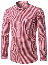 Button Down Checked Pocket Long Sleeve Shirt